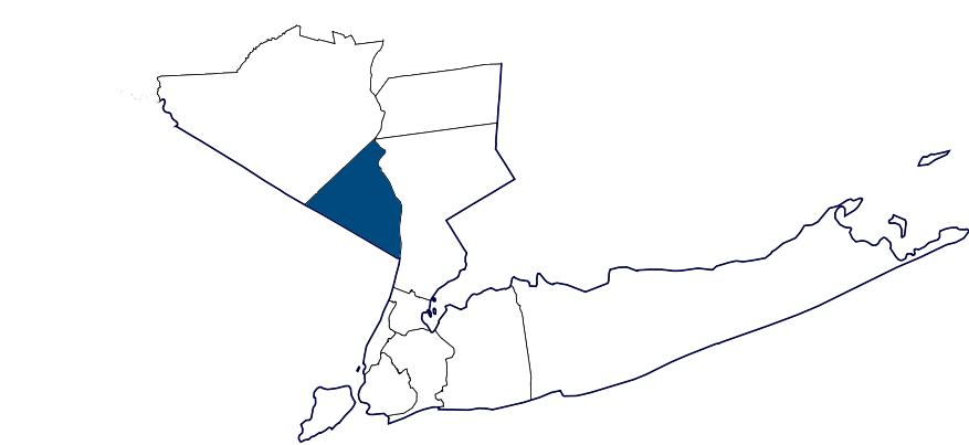 Map of New York City area with Rockland County highlighted